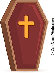 Old fashoined coffin - Halloween symbol isolated on white...