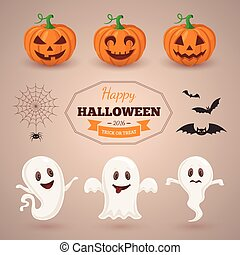 Ghosts pumpkins and bats - Halloween party background design...