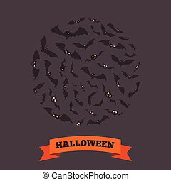 Circle of flying bats - Halloween party background design...