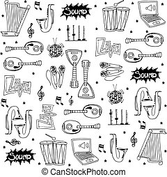 Tool music icon set doodles