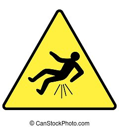 caution you can fall Butthurt, yellow sign with falling man,...