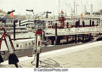 post card city view from vintage bicycle, riverside Germany,...