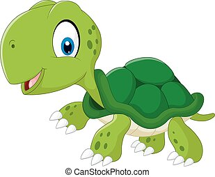 Happy sea turtle cartoon - Vector of illustration Happy sea...