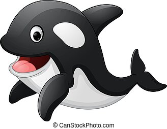 Cute killer whale cartoon - Vector of illustration Cute...