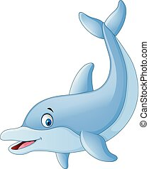 Cute dolphin cartoon - Vector of illustration Cute dolphin...