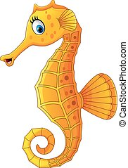 Cute seahorse cartoon - Vector of illustration Cute seahorse...
