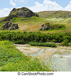 Volcanic Hills of Sicily - Mountain Stream between the...