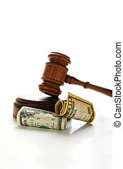 judges court gavel with money law suit