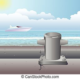 Pier bollard and boat vector - Vector illustration of a pier...