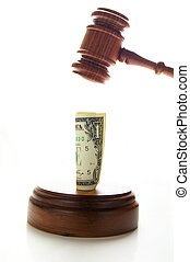 judges law gavel about to pound money, on white