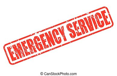 EMERGENCY SERVICE red stamp text on white