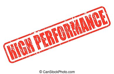 HIGH PERFORMANCE red stamp text on white