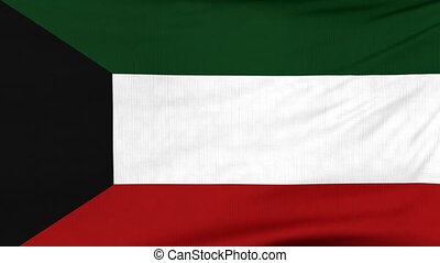 National flag of Kuwait flying on the wind - National flag...