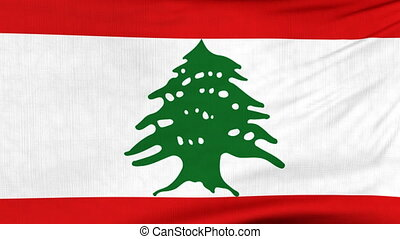 National flag of Lebanon flying on the wind - National flag...