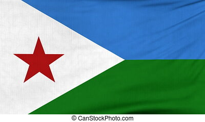 National flag of Djibouti flying on the wind - National flag...