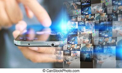 Businessman working on virtual screen.business...