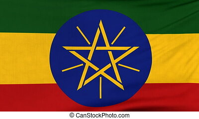 National flag of Ethiopia flying on the wind