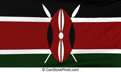 National flag of Kenya flying on the wind - National flag of...