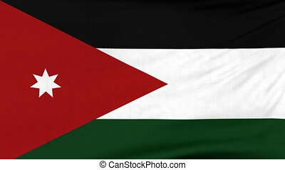 National flag of Jordan flying on the wind