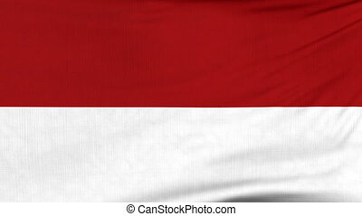 National flag of Indonesia flying on the wind - National...