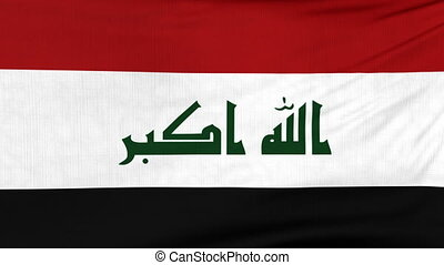 National flag of Iraq flying on the wind