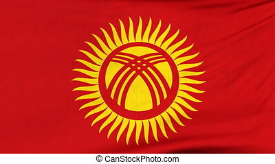 National flag of Kyrgyzstan flying on the wind - National...
