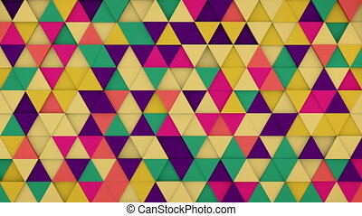 Colorful triangles hipster background 3D render loopable -...