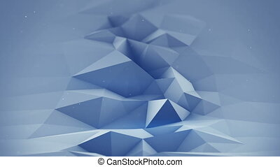 Blue polygonal surface waving seamles loop 3D render - Blue...