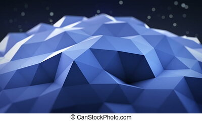 Blue polygonal shape vibrating seamles loop 3D render - Blue...