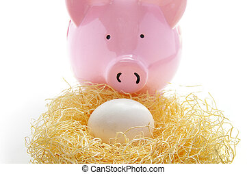 piggy bank behind an egg in a nest nest egg