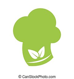 leaf chefs hat healthy food icon Vector graphic - leaf chefs...