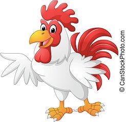 cartoon rooster presenting - Vector of illustration cartoon...