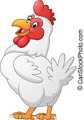 Cartoon hen posing - Vector of illustration Cartoon hen...