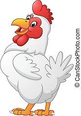 Cartoon hen posing - Vector of illustration Cartoon hen...