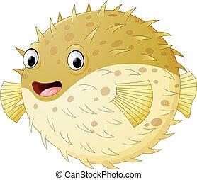 Cartoon funny puffer fish - Vector of illustration Cartoon...