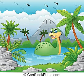 Dinosaur having fun in the lake - Vector of illustration...