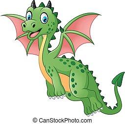 Cartoon funny green dragon flying - Vector of illustration...