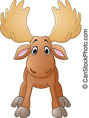 Cartoon happy moose with big horns - Vector of illustration...