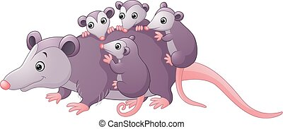 cute cartoon possum with childs - Vector of illustration...