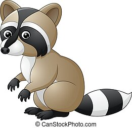 Cute raccoon cartoon - Vector of illustration Cute raccoon...