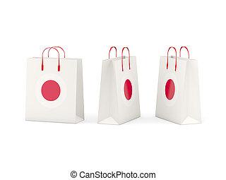bandeira, de, Japão, ligado, shopping, sacolas