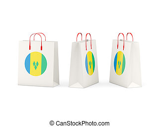 Flag of saint vincent and the grenadines on shopping bags -...