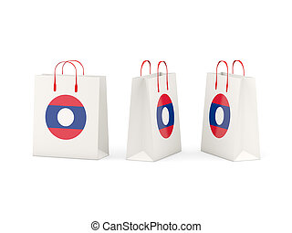 Flag of laos on shopping bags - Round flag of laos on...