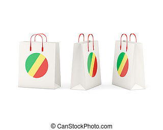 Flag of republic of the congo on shopping bags - Round flag...