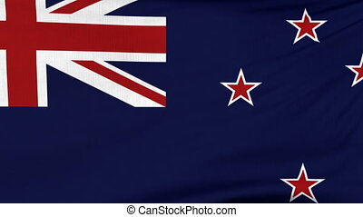 National flag of New Zealand flying on the wind