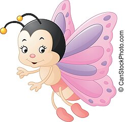 Cute butterfly cartoon - Vector of illustration Cute...