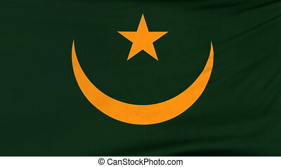 National flag of Mauritania flying on the wind