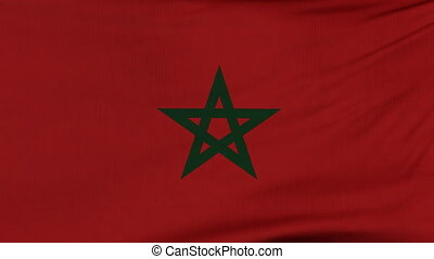 National flag of Morocco flying on the wind - National flag...