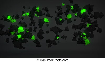 Chaotic Green particles abstract 3D render seamless loop -...