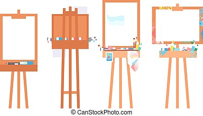 Easel art board vector isolated Art board for some artist...